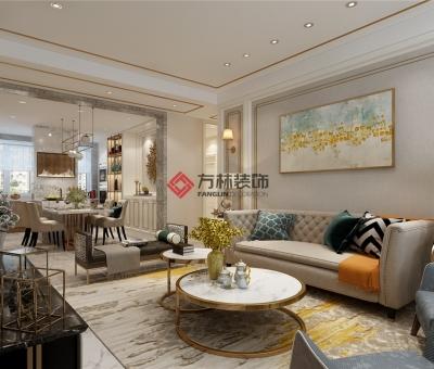 金地铂悦160平港式风格装修效果图---轻奢于形,优雅于里
